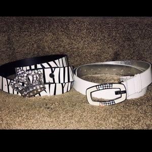 "2 XL Belts Rhinestone ""G"" Guess & Zebra Crown $60"
